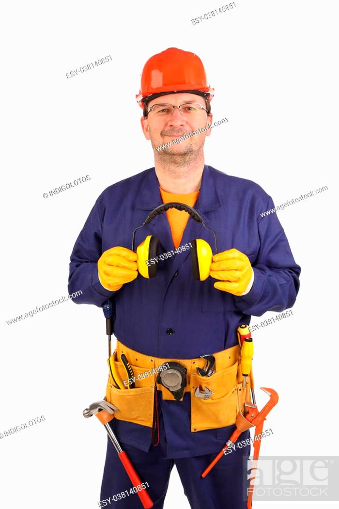 Stock Photo: Confident worker in ear muffs and glasses. Isolated on a white background.