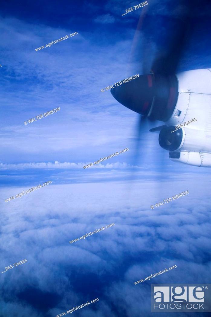 Stock Photo: Vanuatu. Tanna Island. Lenake. View from turbo-prop airliner window.