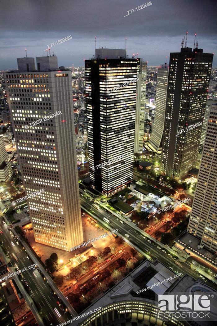 Stock Photo: Shinjuku skyline at night, Tokyo, Japan.