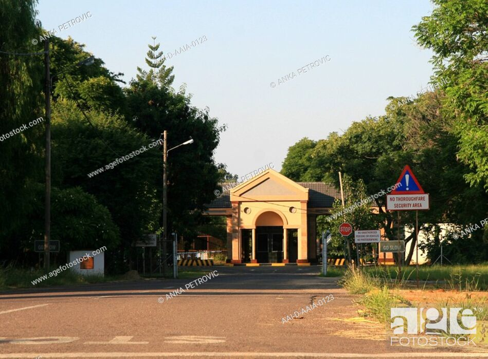 Stock Photo: Entrance to the Presidential Palace, Gaborone, Botswana.