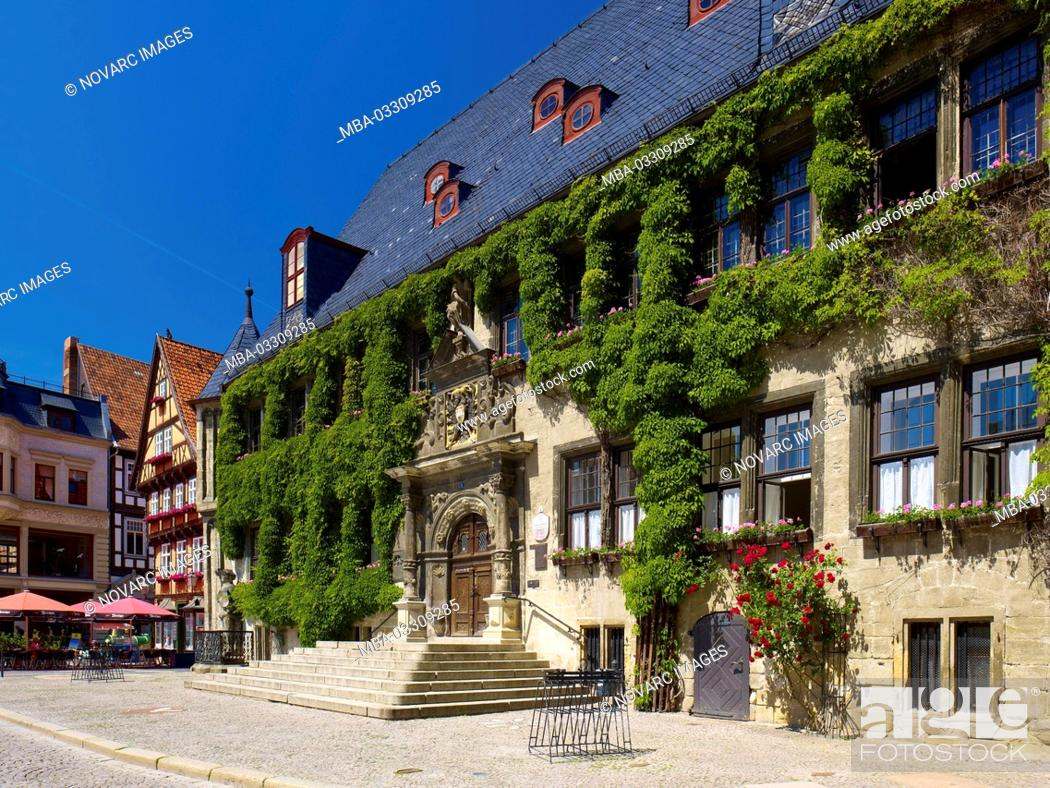 Stock Photo: Town hall at the market with cafe, Quedlinburg, Saxony-Anhalt, Germany,.