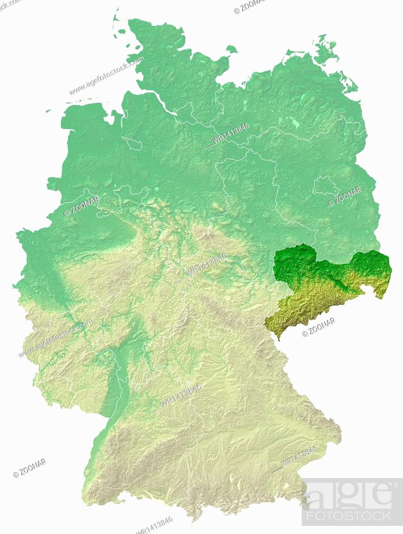 Stock Photo: Saxony relief map.