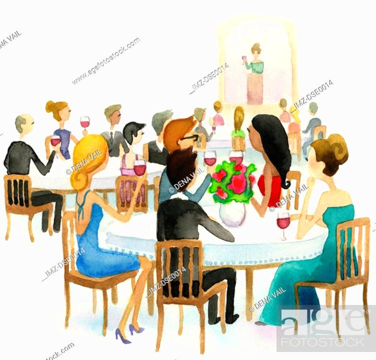 Stock Photo: A watercolor illustration of people raising their wine glasses during a toast.