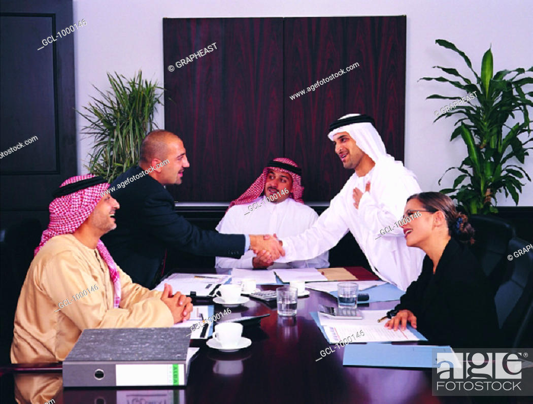 Stock Photo: Business agreement between Arab businesspeople.