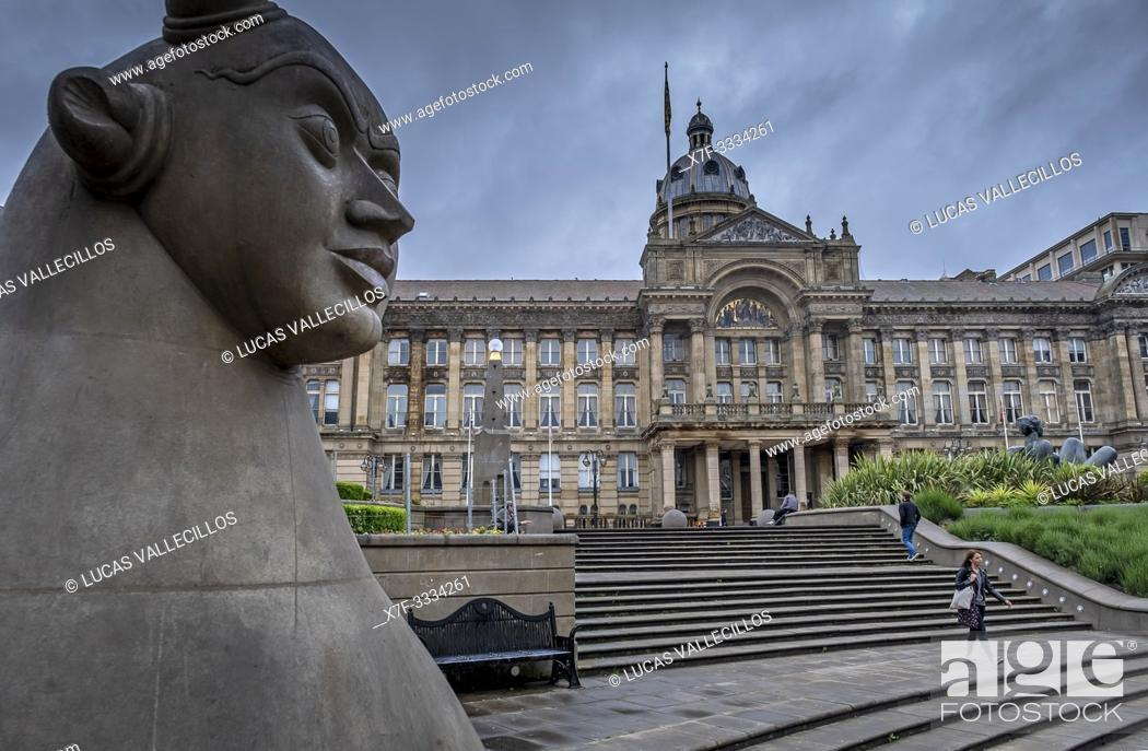 Stock Photo: Victoria Square and town hall , Birmingham, England.