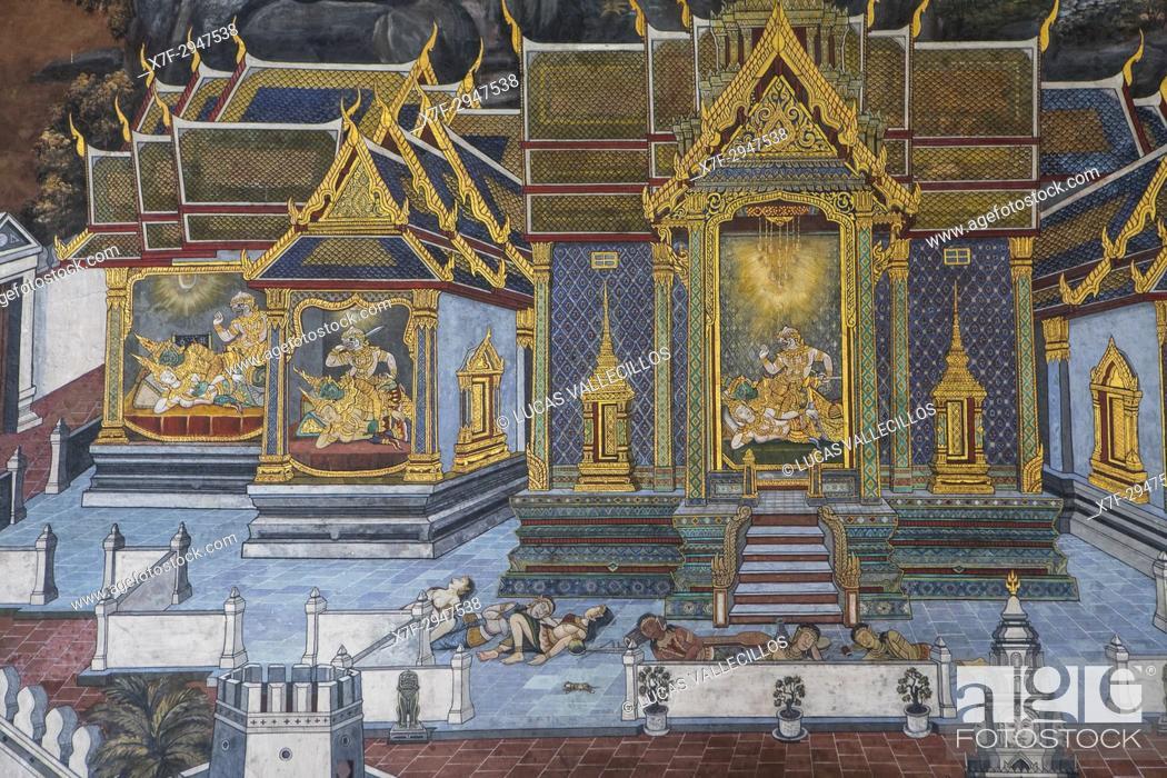Photo de stock: Paintings at the temple of the Emerald Buddha Wat Phra Kaeo, Grand Palace, Bangkok, Thailand.