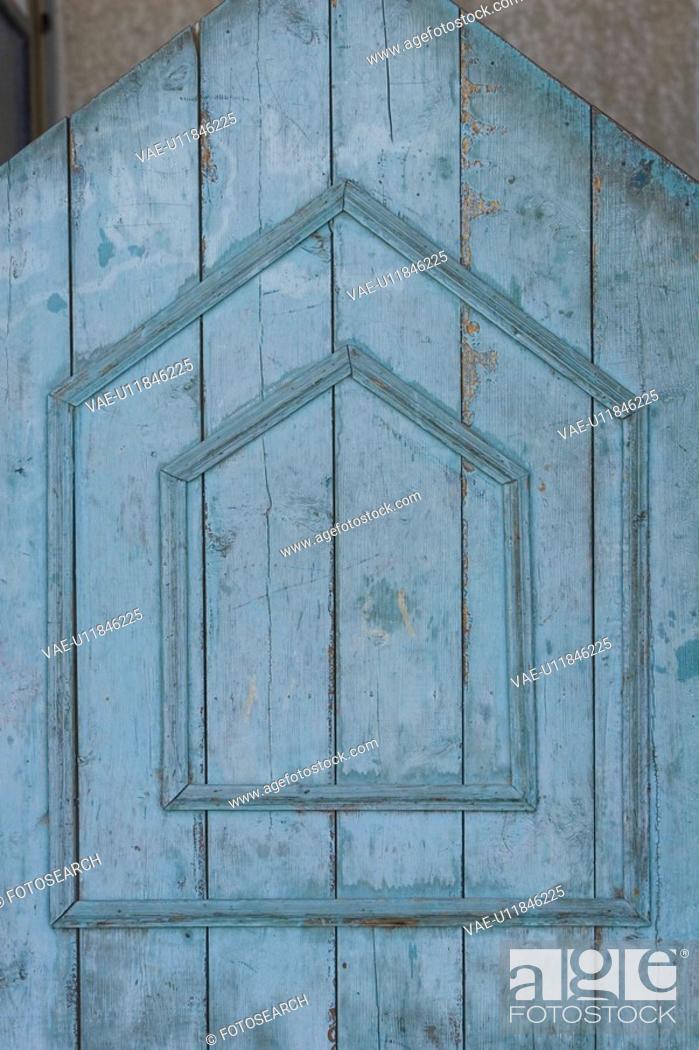 Stock Photo: Blue, Close-Up, Cracked, Door, Geometric Shape.