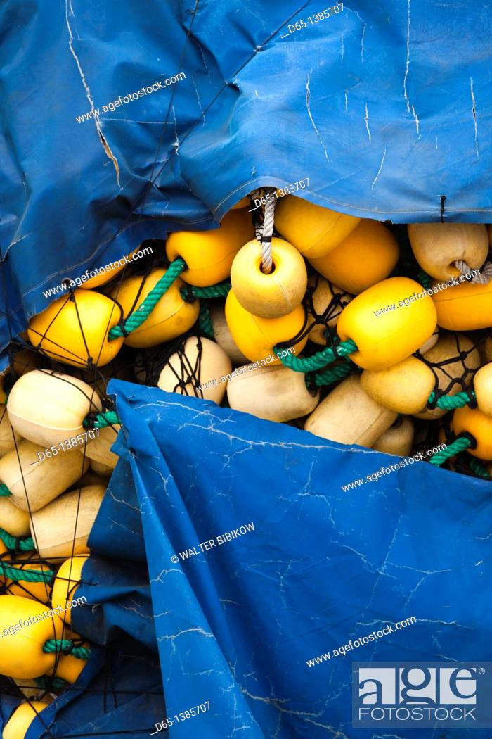 Stock Photo: France, Languedoc-Roussillon, Pyrennes-Orientales Department, Vermillion Coast Area, Port-Vendres, commercial fishing gear, nets and floats.