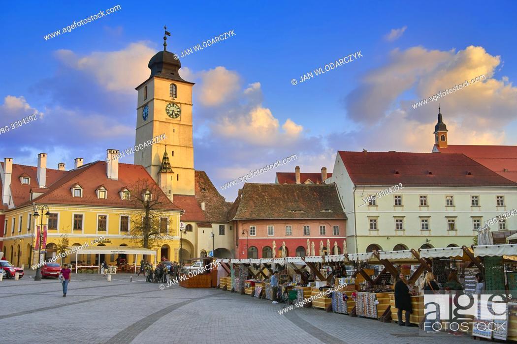 Stock Photo: Sibiu old town, Romania.