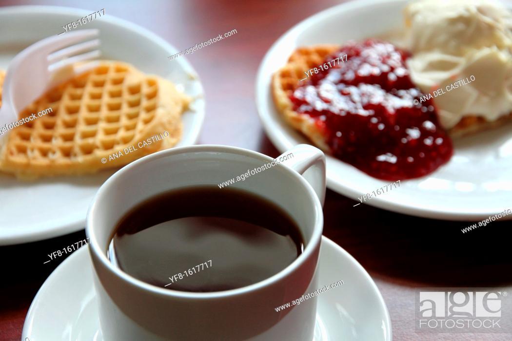 Stock Photo: Waffles, Hotel in Myrdal,Aurlandsfjord, Song og Fjordane,Norway.