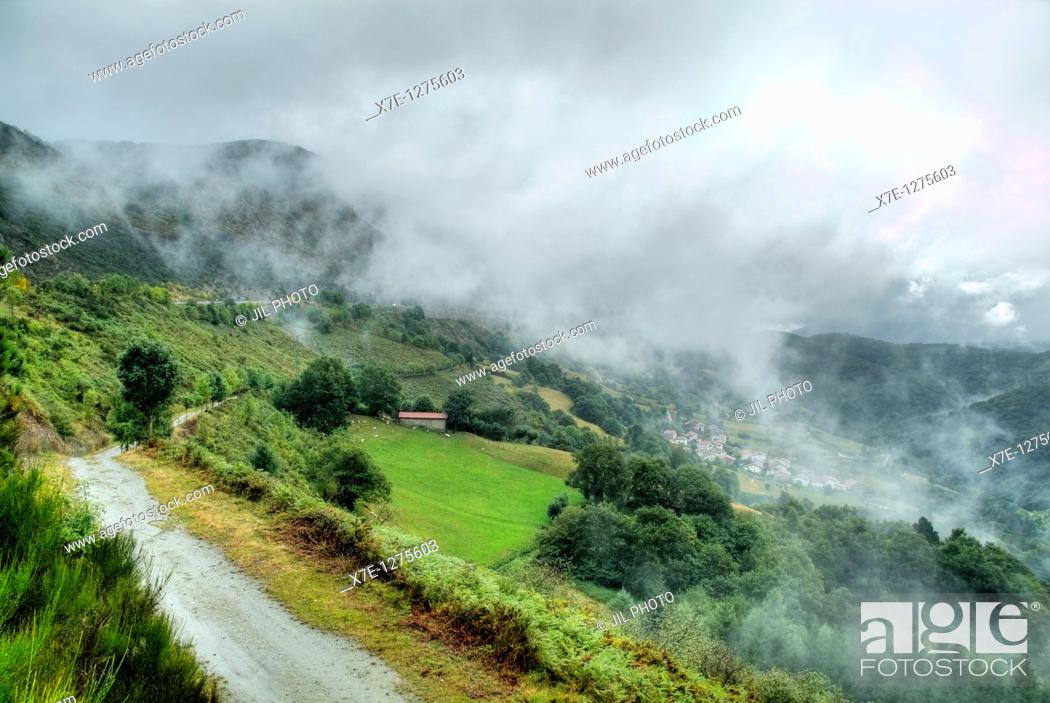 Stock Photo: Fog on the port Azpiroz  Navarra  Basque Country  Spain.