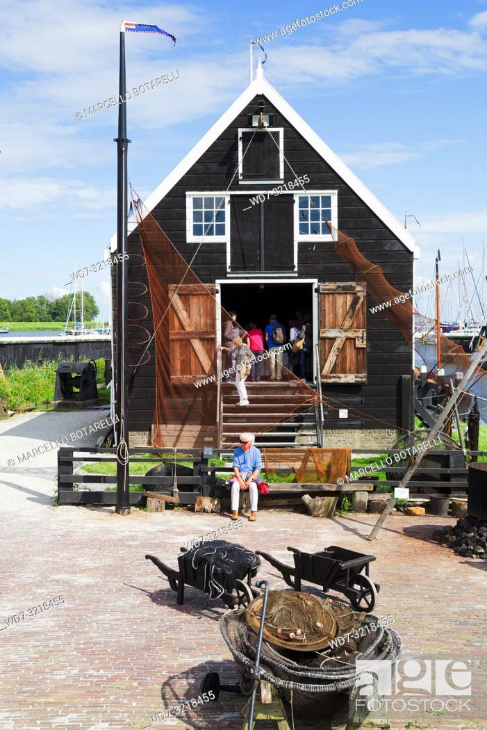 Stock Photo: fishing museum, exposed fishing nets, enkhuizen, a small town in northern holland, an ancient fishing town.