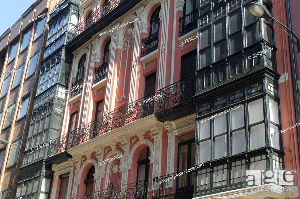 Calle Ledesma buildings  Bilbao  Biscay, Spain, Stock Photo
