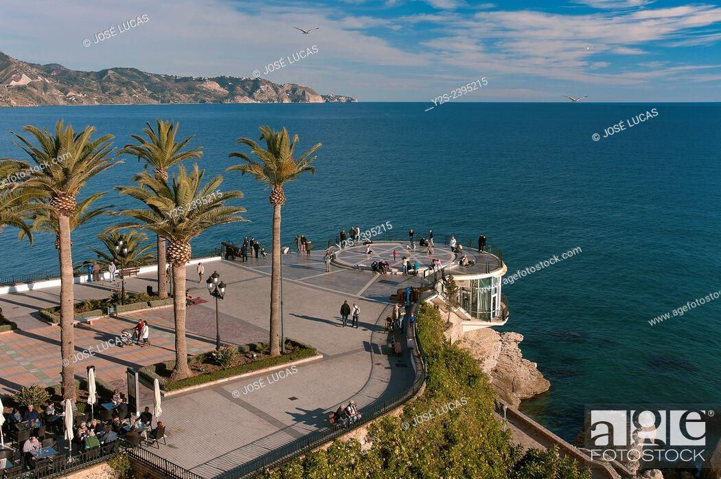 Stock Photo: Balcon de Europa, Nerja, Malaga province, Region of Andalusia, Spain, Europe.