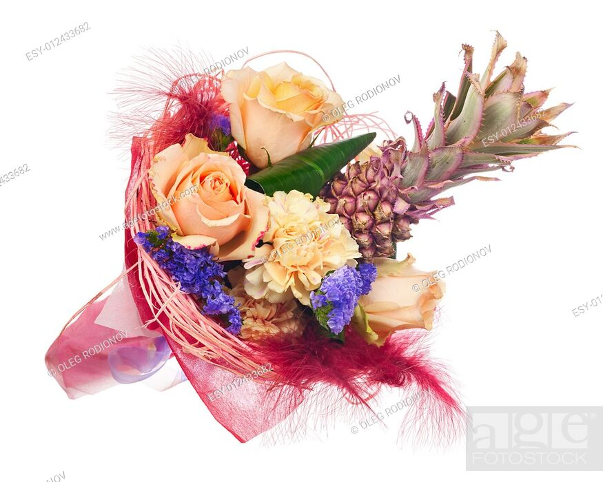 Stock Photo: Beautiful bouquet of roses, carnations, decorative pineapple and other flowers in red package isolated on white background.