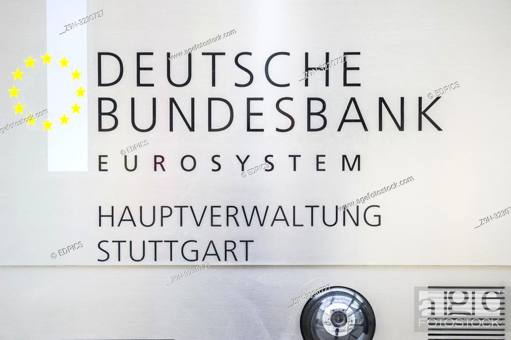 Stock Photo: sign at the main office of the german federal bank eurosystem, stuttgart, baden-wuerttemberg, germany.