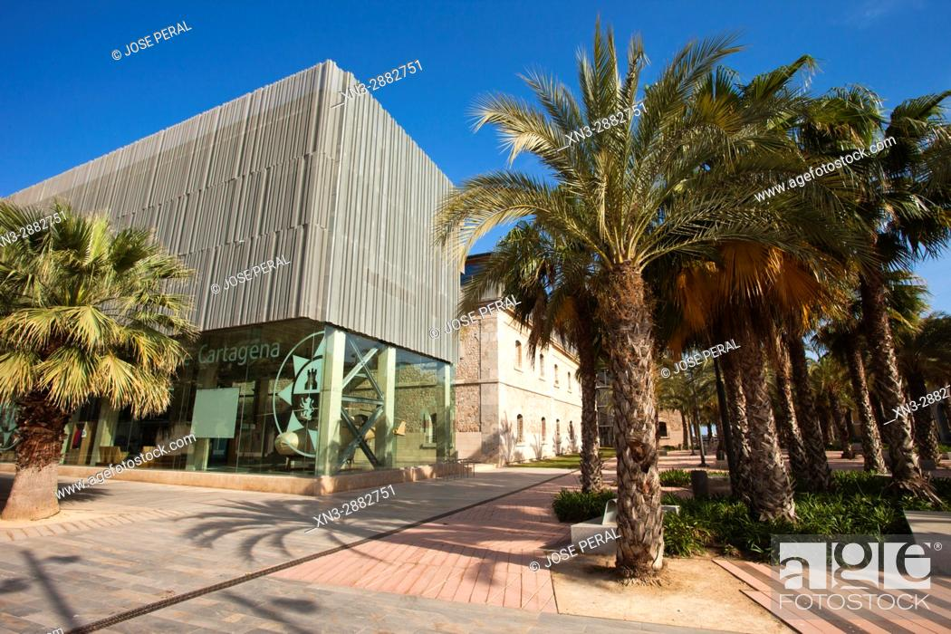 Stock Photo: CIM Square, Plaza del CIM (UPCT), Cartagena City, Murcia Region, Spain.