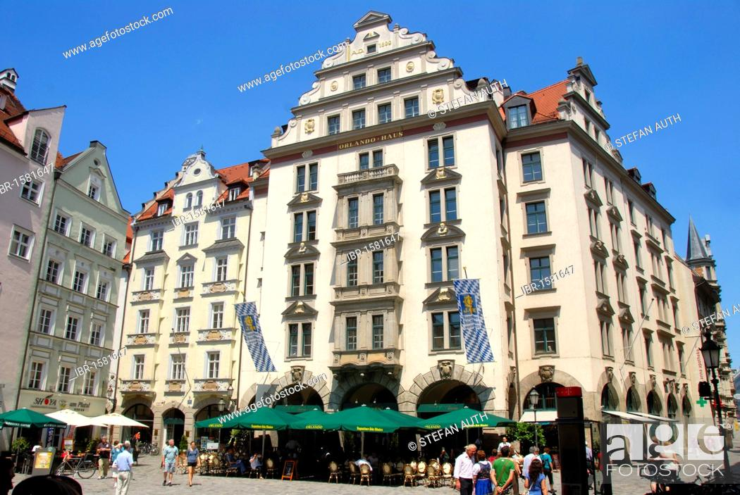 Stock Photo: Orlando-Haus building on the Platzl, square with restaurant, downtown, old town, Munich, capital, Upper Bavaria, Bavaria, Germany, Europe.