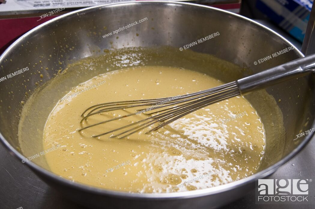Stock Photo: A batter is mixed at Gertrude's restaurant in Baltimore, Maryland.