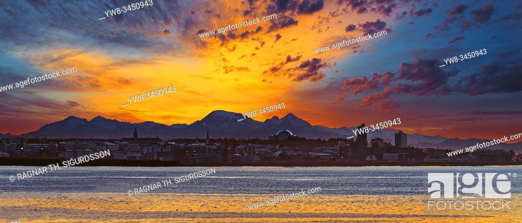 Stock Photo: Sunset, Reykjavik Skyline, Iceland.