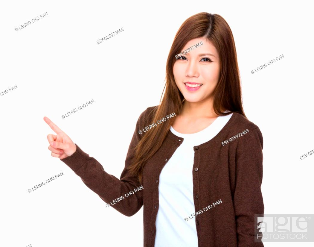 Stock Photo: Asian Young Woman with finger point out.