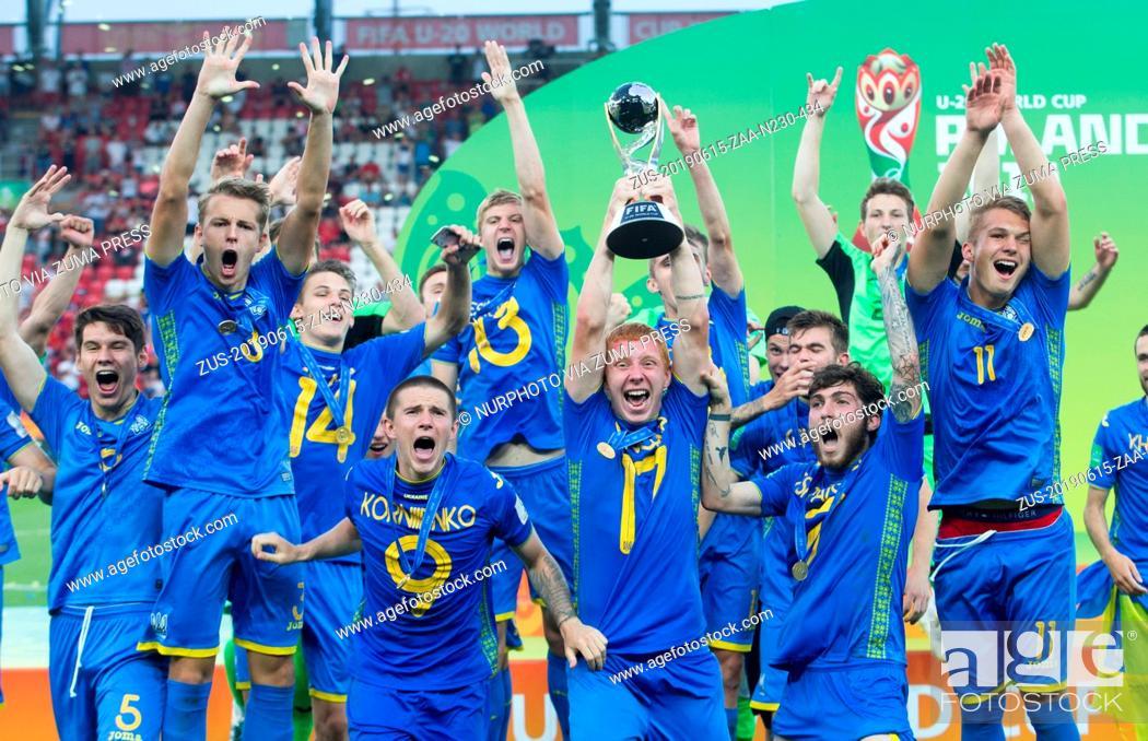 Stock Photo: June 15, 2019 - Lodz, Poland - Ukrainian team celebrate during the 2019 FIFA U-20 World Cup Final between Ukraine and Korea Republic at Lodz Stadium on June 15.