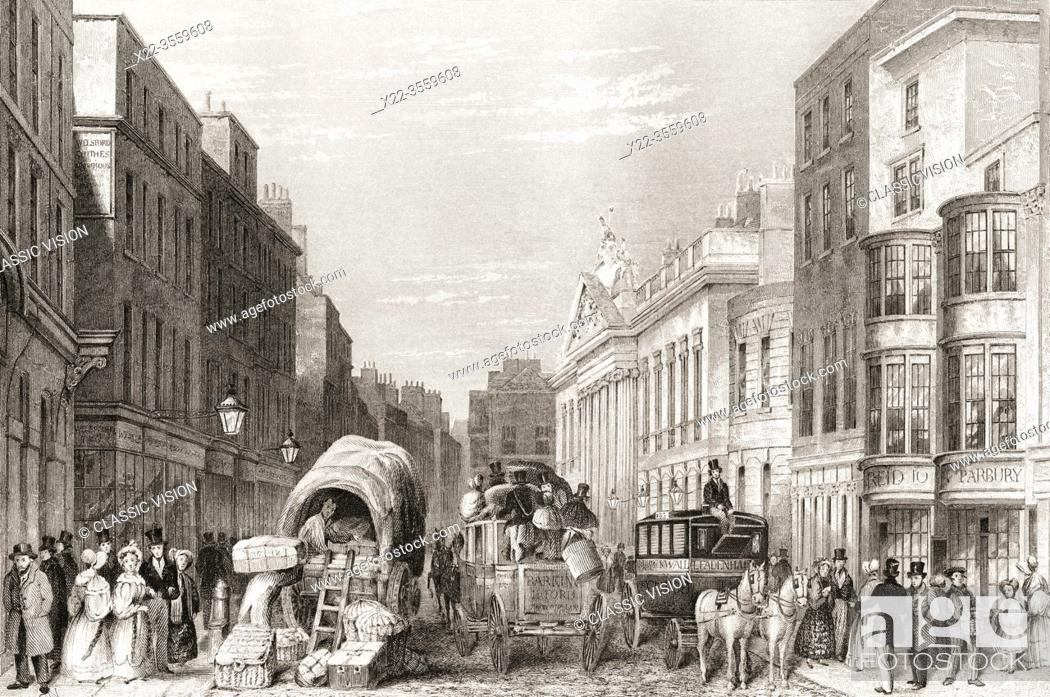 Stock Photo: Leadenhall Street, London, England, 19th century. From The History of London: Illustrated by Views in London and Westminster, published c. 1838.