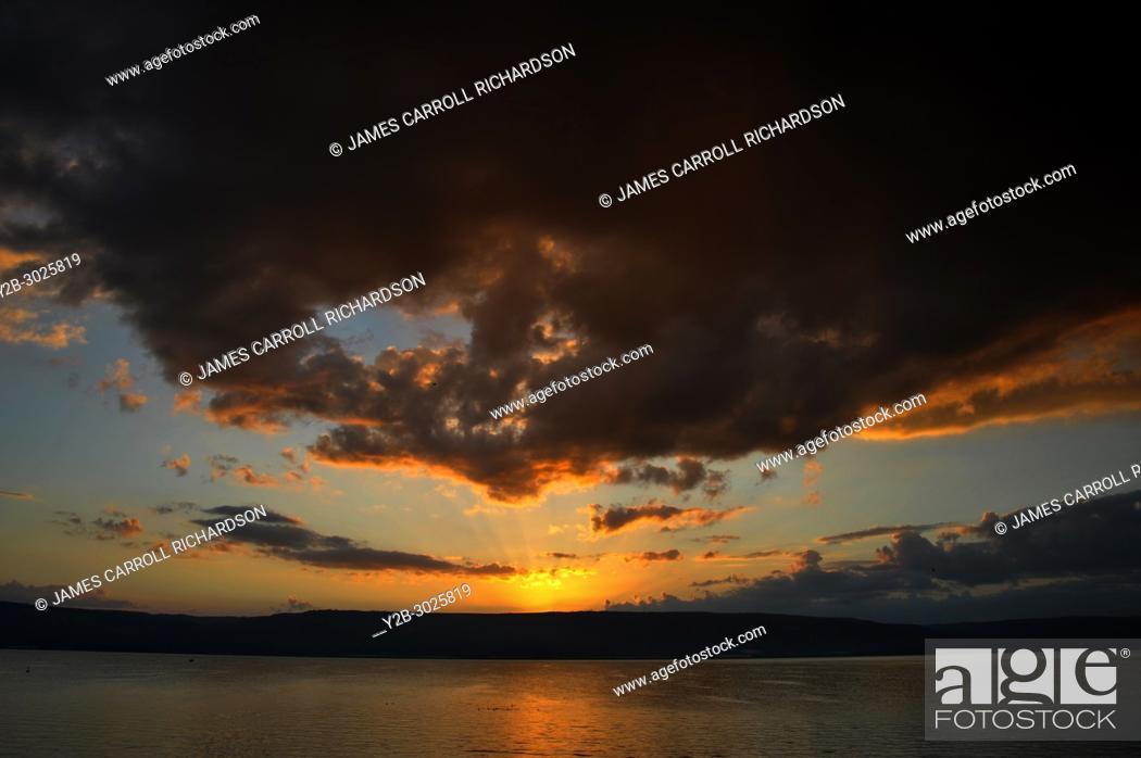 Stock Photo: Israel Tiberius Sea of Galilee sunrise from Gai Beach Hotel.