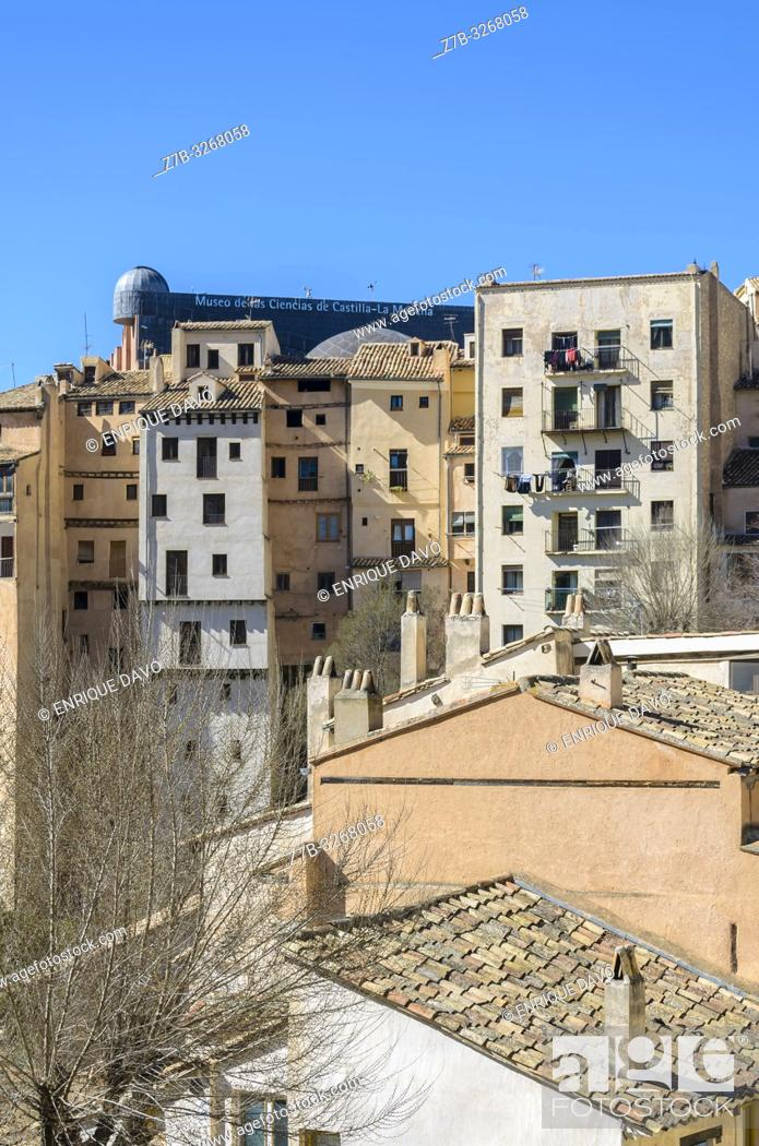 Stock Photo: View of a buildings from old town, Cuenca city, Spain.