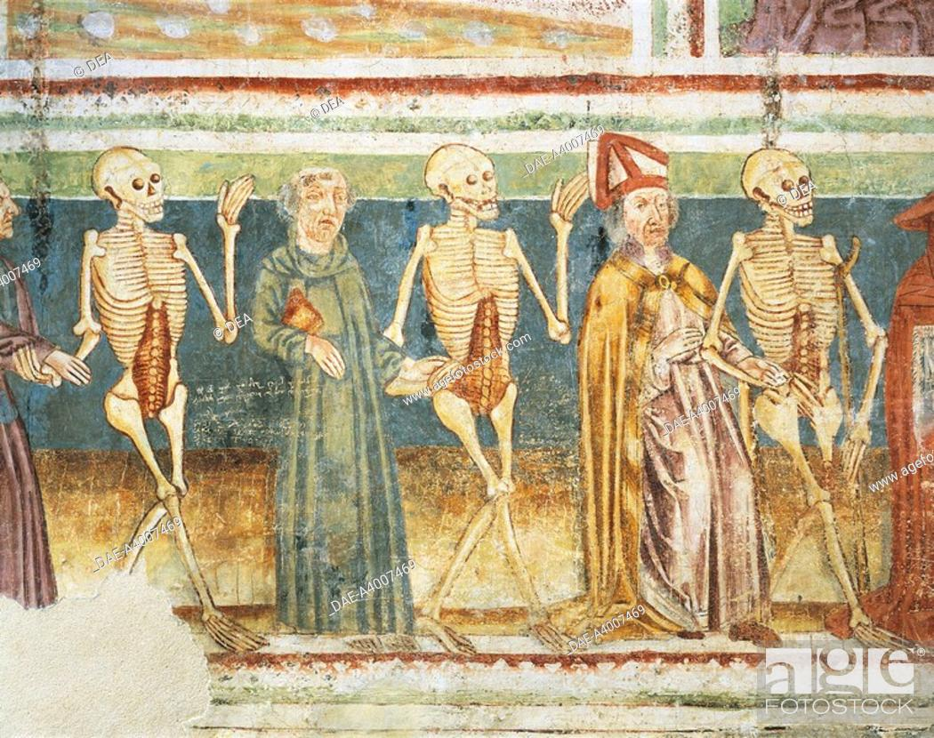 Stock Photo: Death accompanying a bishop and a monk, Dance of Death (1490), detail from the frescoes by Janez Iz Kastva, Trinity Church, Hrastovlje fortified church.