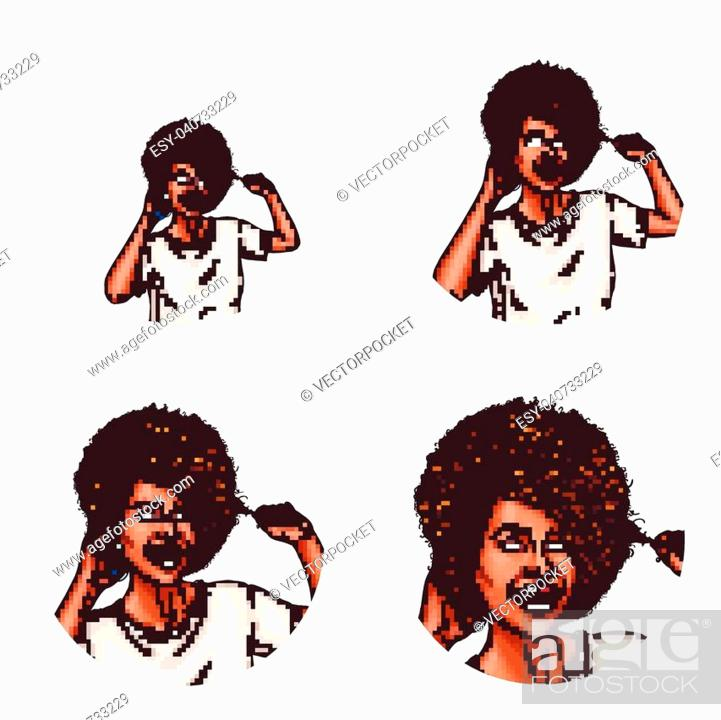 Set Of Vector Pop Art Round Avatar Icons For Users Of Social