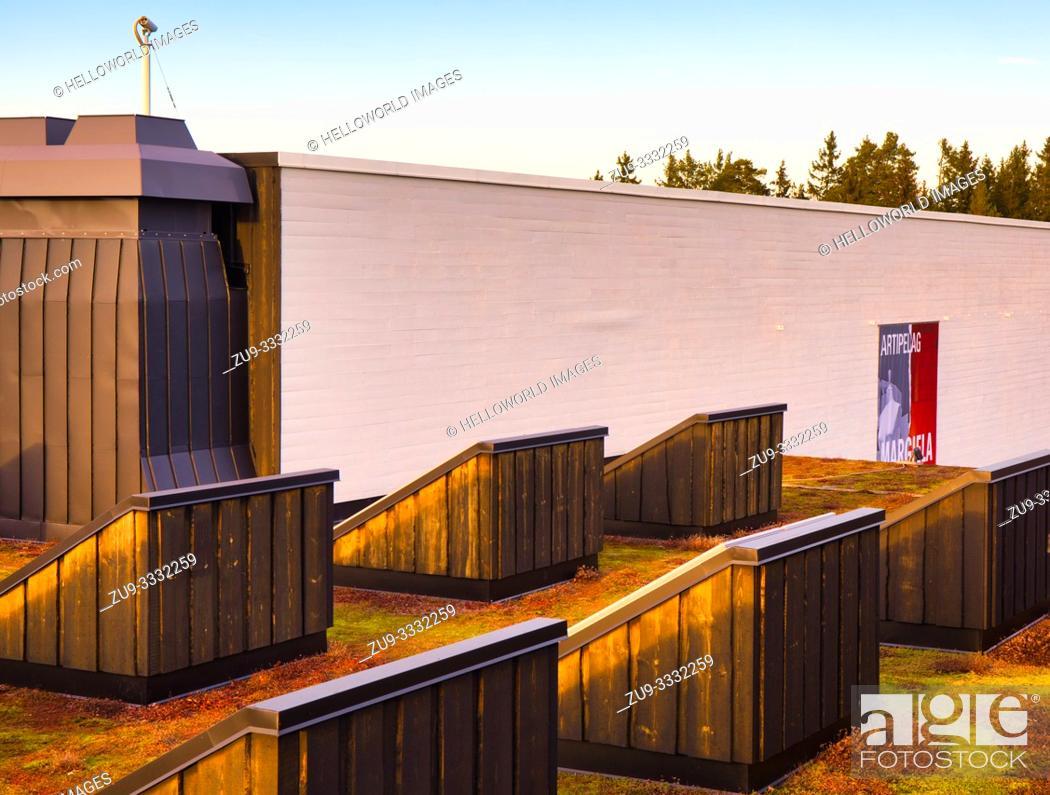 Stock Photo: Rooftop view, Artipelag, Halludden Peninsula, Varmdo, Sweden, Scandinavia. Artipelag is an international venue for art, culture and design on Varmdo in the.