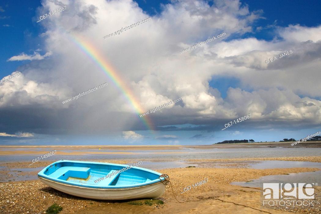 Stock Photo: Wells Beach Norfolk UK Boat and Rainbow.