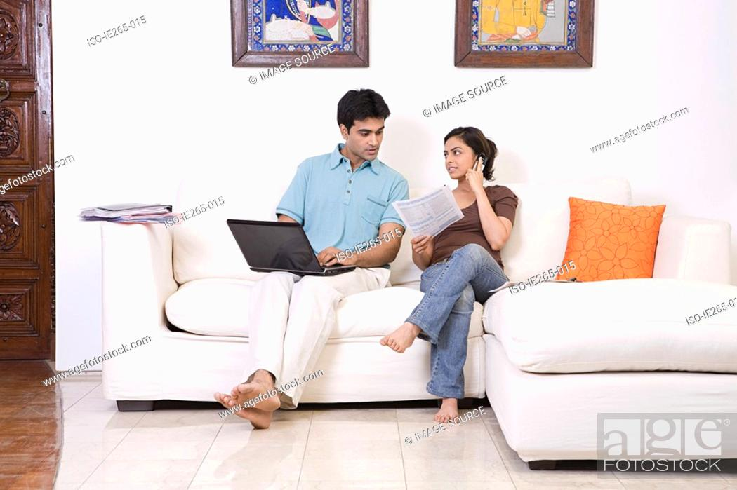 Stock Photo: A couple sorting out finances.