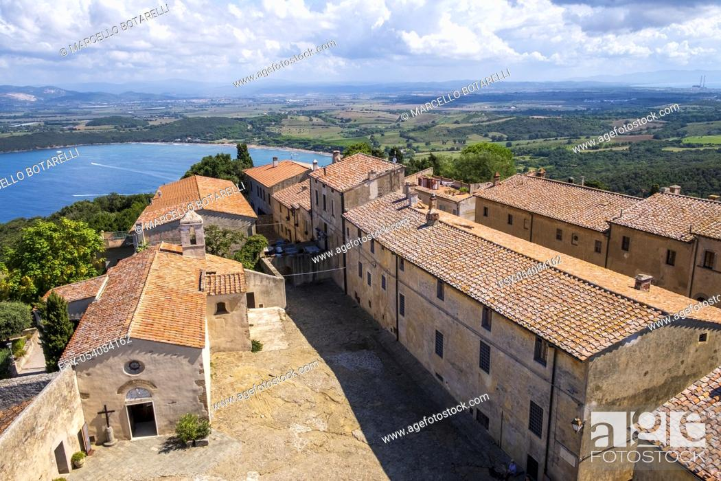 Stock Photo: view of the sea from the castle of populonia, tuscany, italy.