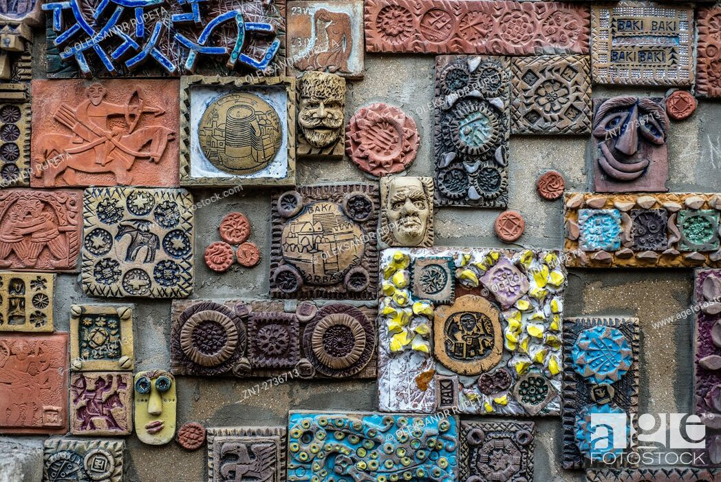 Stock Photo: A wall decorated with handmade tiles at the Old City of Baku, Azerbaijan.