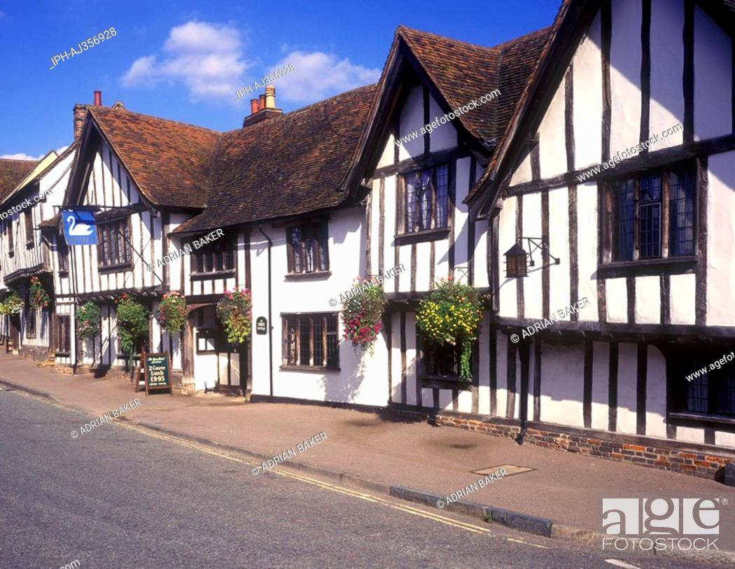 Stock Photo: The Swan Hotel in the olf village of Lavenham.