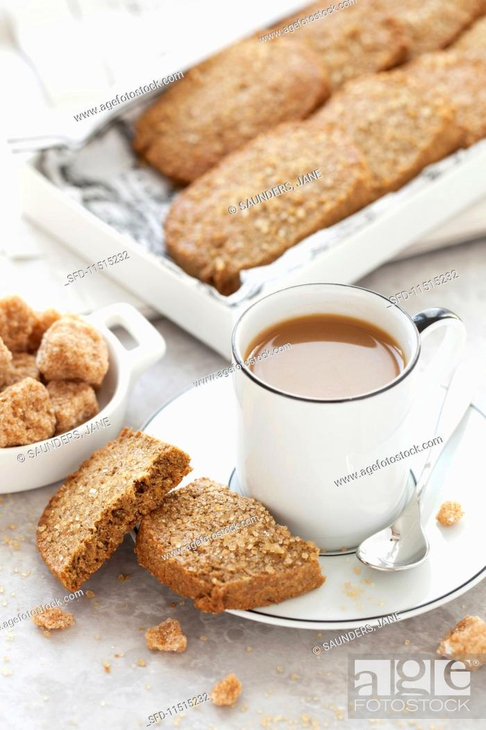 Stock Photo: Rye and ginger biscuits with coffee.
