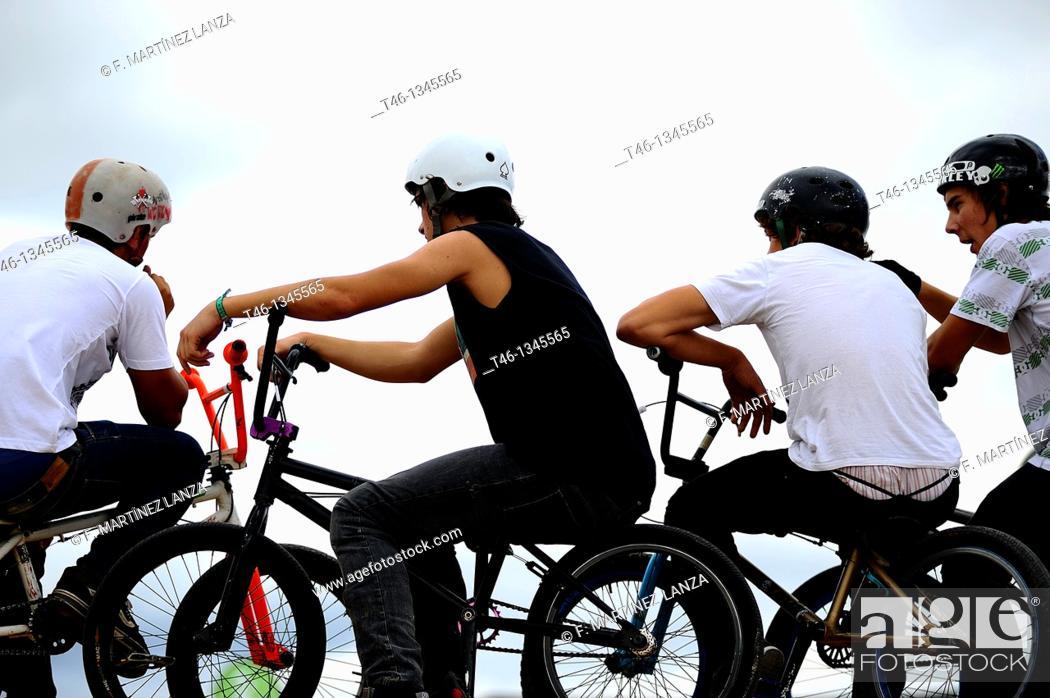 Stock Photo: Bikepark competitors in BMX bicycle Festibal.
