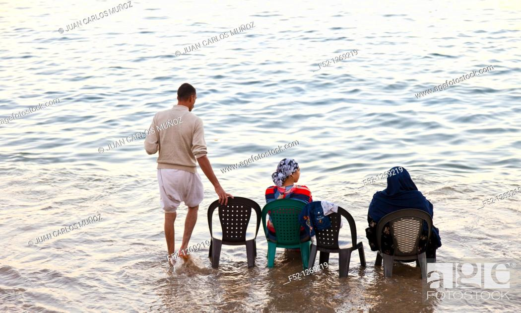 Stock Photo: Life on the beach, corniche, 26 July Avenue, City of Alexandria, Egypt, Mediterranean Sea.