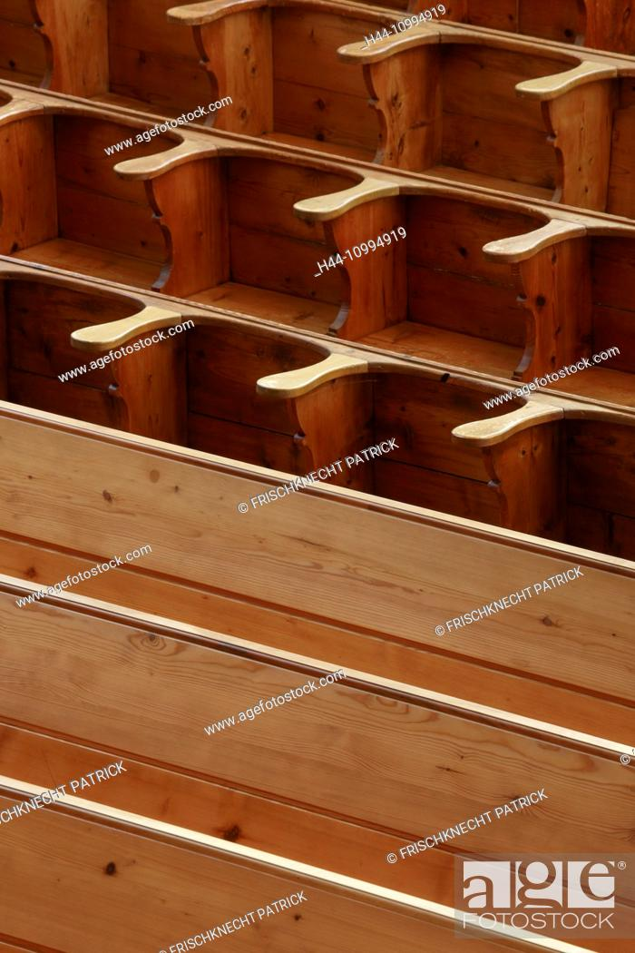 Stock Photo: Pews of wood, Switzerland.