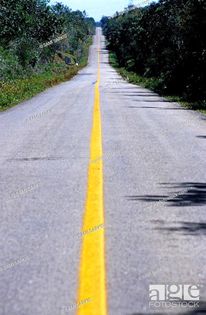 Stock Photo: Yellow dividing line marking an empty road between Uxmal and Kabah, Yucatan, Mexico.