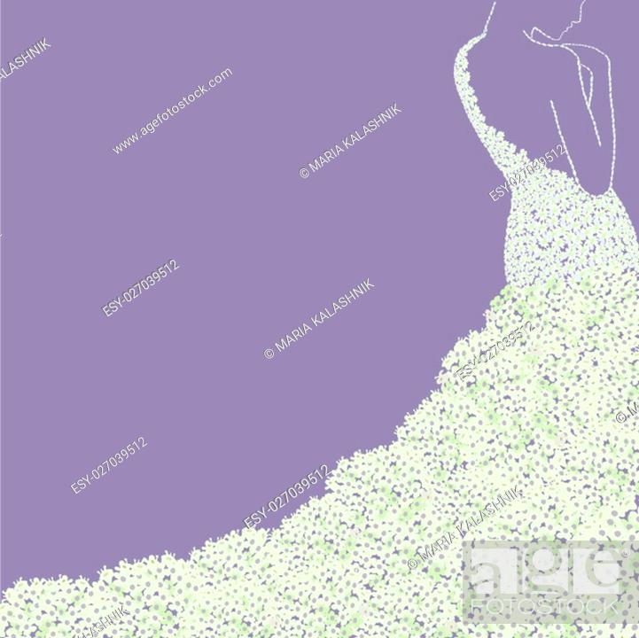 Stock Photo: Bride s silhouette in floral dress . Bridal shower wedding invitation card.