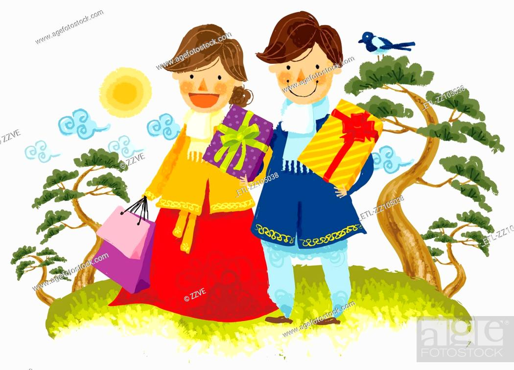 Stock Photo: Couple carrying gifts boxes and shopping bag.