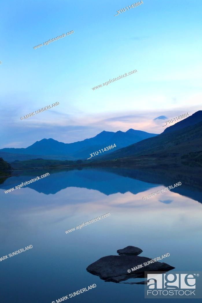 Stock Photo: Snowdon Horseshoe at sunset from Llynnau Mymbyr Conwy Wales.