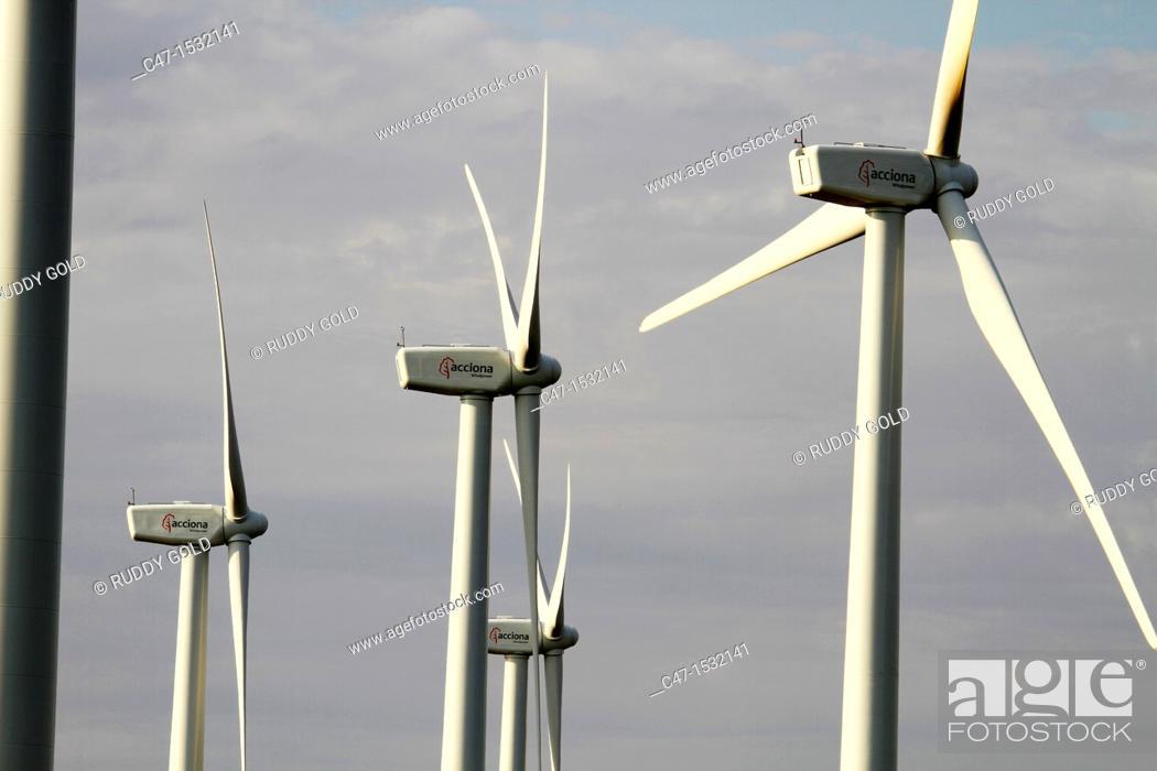 Stock Photo: Spain, Catalonia, Lleida province, Tarres, Windmills at the Pla del Cintet.