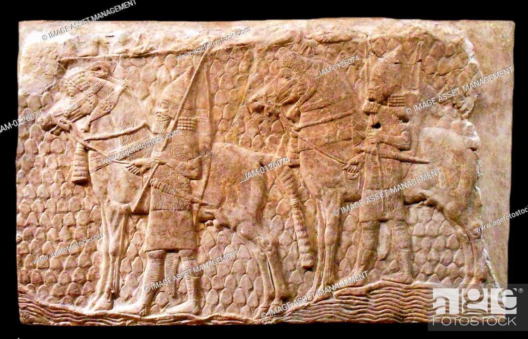 Stock Photo: Relief fragment: cavalrymen along a stream in mountainous terrain. Neo-Assyrian, ca. 704–681 B.C. from Mesopotamia, Nineveh.