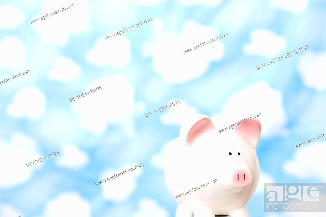 Stock Photo: wallpaper and piggy bank.