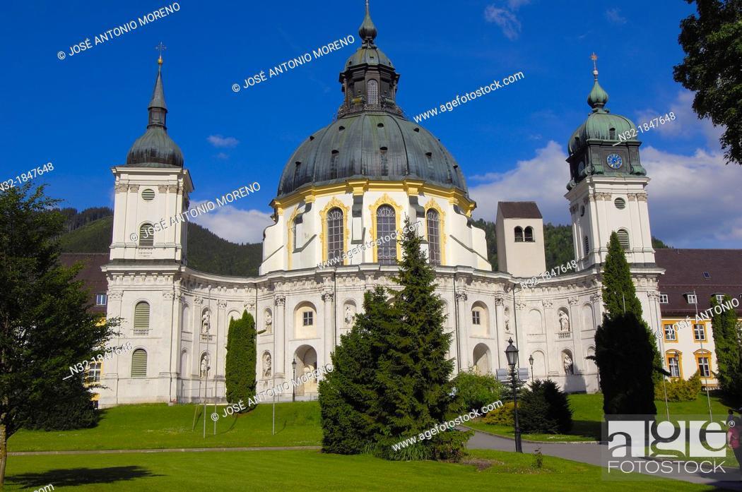 Stock Photo: Ettal, Ettal Abbey, Near Oberammergau, monastery church and courtyard, Upper Bavaria, Bavaria, Germany, Europe.
