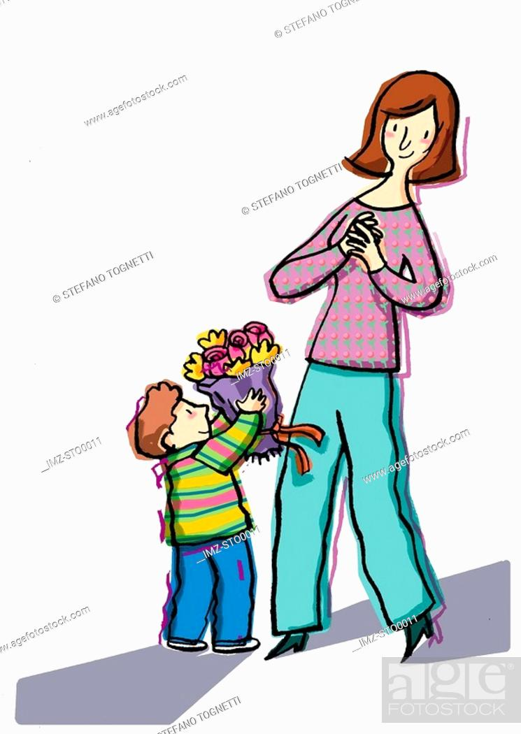 Stock Photo: Little boy giving his mother flowers.